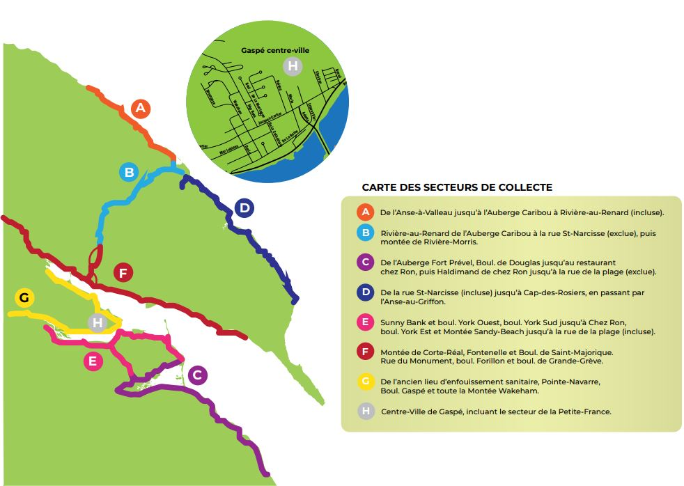 Changements aux secteurs de collecte 2020 Gaspé