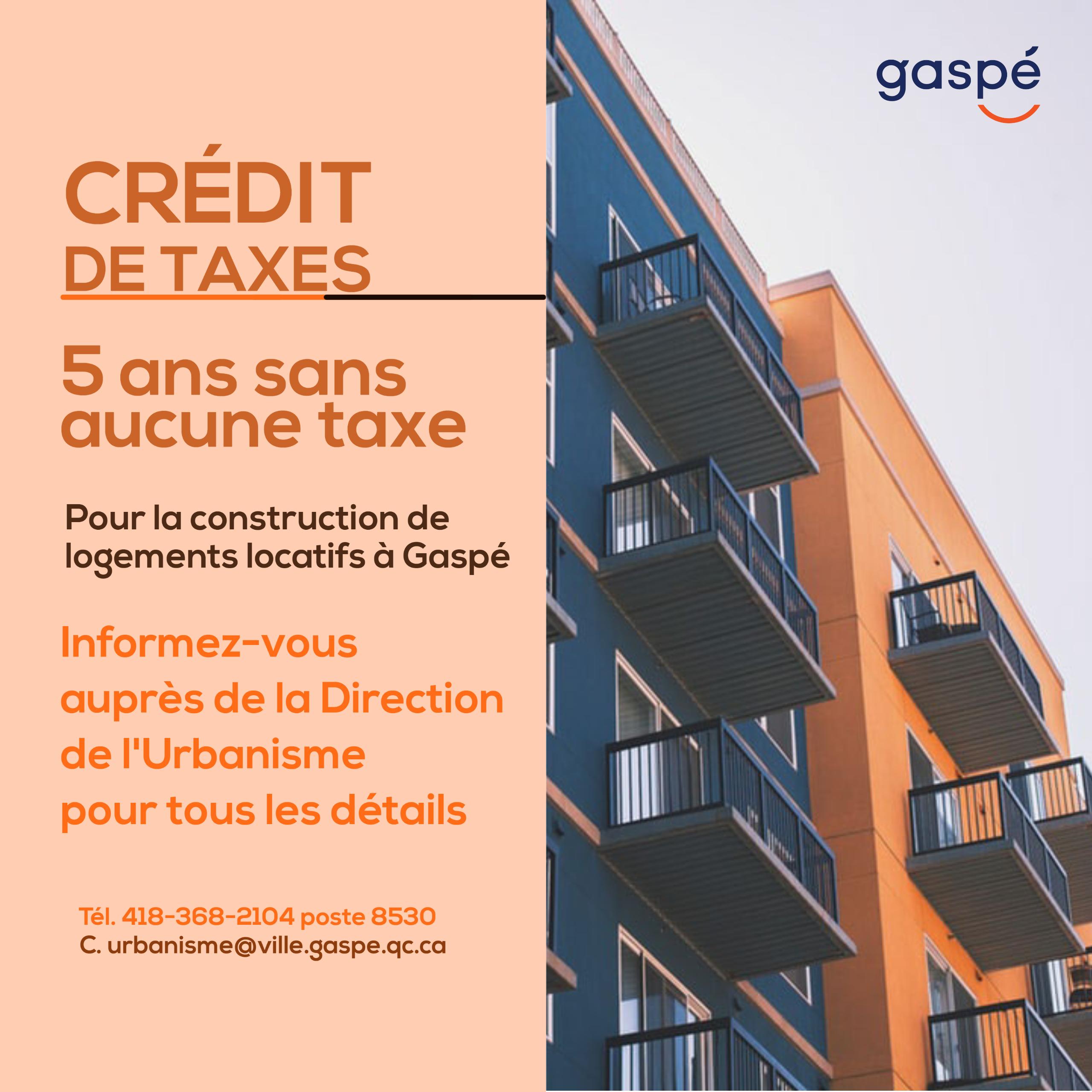 credits de taxes logements gaspé
