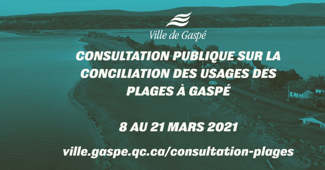 THE CITY OF GASPÉ AND THE ZIP GASPÉSIE COMMITTEE LAUNCH THE PUBLIC CONSULTATION ON THE RECONCILIATION OF USES ON THE BEACHES