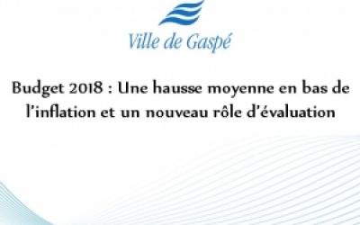 BUDGET 2018 : UNE HAUSSE MOYENNE EN DESSOUS DE L'INFLATION ET  UN NOUVEAU RÔLE D'ÉVALUATION